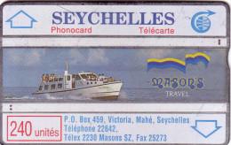 SEYCHELLES MASON S TRAVEL 240U N° 011E.... UT TRACES USURES RECTO - Seychellen