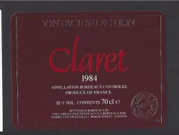 Etiquette   -  Claret  -   Bordeaux   -   1984 - Bordeaux