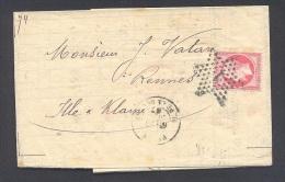 PARIS 75 LAC Tad Type 17 PARIS PLACE DE LA BOURSE Du 20/07/1867 étoile 1 Sur N° 24 TTB - Marcophilie (Lettres)