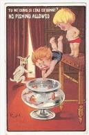 Carte Fantaisie Humour Illustrateur RIGHT Lapina Enfants Poissons Rouges Chien Children No Fishing Dog - Right