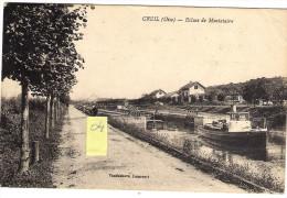 CREIL  60  Ecluse De Montataire  Péniche Avec Son Remorqueur - Creil