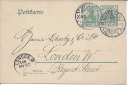 Entier Postal 5 Pfenig Vert  + 1 Timbre 5 Pfennig Dresde Dresden 1903 Pour Londres