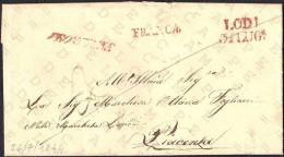 """PREFILATELIA - DA LODI A PIACENZA - 31-07-1844 - ANNULLO """"LODI 31 LUG. + FRANCA"""" IN ROSSO + ANNULLO """"PIACENZA 1 AGOS."""""""