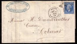 """LETTRE CLASSIQUE ETOILE DE PARIS """"4"""" RUE D´ENGHIEN  8/11/1864 6EME LEVEE POUR COLMAR - Marcophilie (Lettres)"""