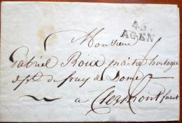47 AGEN   LETTRE MARQUE POSTALE AGEN   A CLERMONT FERRAND  GABRIEL ROIX MAITRE HORLOGER - 1849-1876: Période Classique