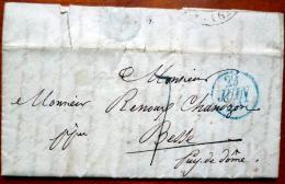 LETTRE MARQUE POSTALE 1837  A  BESSE RENOUX CHANOZON - 1849-1876: Période Classique