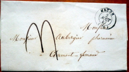 71 MACON A CLERMONT FERRAND 1847  AUBERGIER PHARMACIEN - 1849-1876: Période Classique