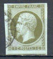 FRANCE - 1853-60 - Second Empire - Napoléon III - N° 11 - 1 C. Olive (Oblitération Petit Cachet à Date) - 1853-1860 Napoleone III