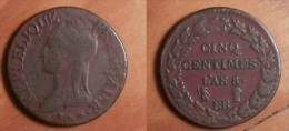 Directoire - 5 Centimes An 8 BB - France