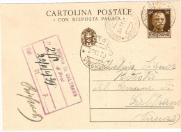CARTOLINA POSTALE . CON RISPOSTA PAGATA CENT. 30 -PARTE DOMANDA - Entiers Postaux