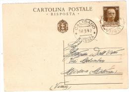 CARTOLINA POSTALE . RISPOSTA  CENT. 30 - 1878-00 Umberto I