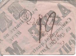 LAON Cachet Type 15 Du 19/10/1856 Pour Marle Aisne Taxe 12 Décimes Enveloppe Réalisée Par Une Partie D'affiche De Vente - Marcophilie (Lettres)