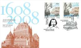 2008  Founding Of Quebec City  Sc 2269  Joint FDC With France - Ersttagsbelege (FDC)