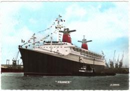 """CPSM 76 Le Havre - 23 Novembre 1961, 1ère Arrivée Du Paquebot """"France"""" Au Havre - Cie Générale Transatlantique TBE - Passagiersschepen"""