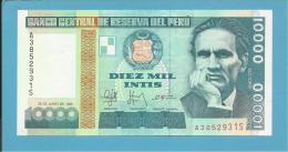 PERU - 10 000 INTIS - 28.06.1988 - Pick 140 - UNC. - CESAR VALLEJO - 2 Scans - Perù