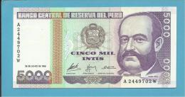 PERU - 5.000 INTIS - 28.06.1988 - Pick 137 - UNC. - MIGUEL GRAU - 2 Scans - Pérou