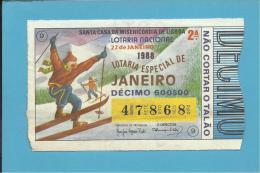 LOTARIA NACIONAL - 2.ª ESP. - 26.02.1988 - ESPECIAL DE JANEIRO - Portugal - 2 Scans E Description - Lottery Tickets