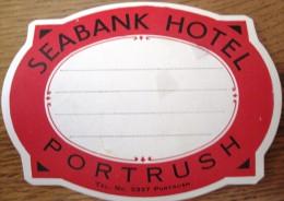 HOTEL MOTOR MOTEL SEABANK PORTRUSH LONDON UK ENGLAND GREAT BRITAIN STICKER DECAL LUGGAGE LABEL ETIQUETTE AUFKLEBER - Hotel Labels