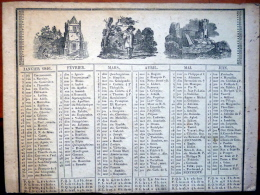 CALENDRIER  ANNEE 1846  TRES ANCIEN    XYLOGRAPHIES  ROMANTIQUES EPOQUE  LOUIS  PHILIPPE - Calendars