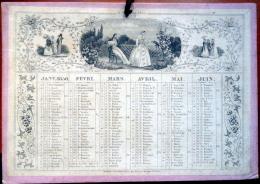 CALENDRIER  ANNEE 1850  TRES ANCIEN   XYLOGRAPHIES  ROMANTIQUES EPOQUE  DEUXIEME REPUBLIQUE - Calendars
