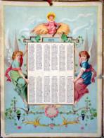 CALENDRIER  ANNEE 1876  TRES ANCIEN   LITHOGRAPHIES  ROMANTIQUES EPOQUE TROISIEME REPUBLIQUE - Big : ...-1900