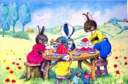 Jean GILDER The Birthday Tea Party, Lapins Attables, Gateau D'anniversaire, Souris, Herisson?blaireau? - Illustrateurs & Photographes