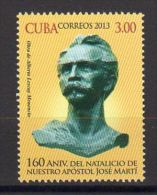 TIMBRE CUBA 2013 APOSTOL JOSE MARTI POLITICO - Celebridades
