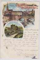 GRUSS AUS METZ - Schlucht Gravelotte - Jungfernwehr Und Mittelbrücke - Litho - Recto Verso - Metz