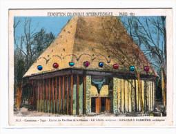 EXPOSITION COLONIALE  PARIS 1931 ... CAMEROUN ... ENTREE DU PAVILLON DE LA CHASSE .. CARTE EN STRASS - Expositions