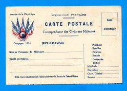 Carte  Postale Correspondance Des Civils Aux Militaire En Franchise - Campagne 1914 - Marcophilie (Lettres)