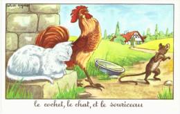 FABLE ... JEAN DE LA FONTAINE ... ILLUSTRE PAR CALVET REGNIAT ... LE COCHET LE CHAT ET LE SOURICEAU - Writers