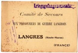 TB 609 - MILITARIA - Carte - Accusé De Réception D´ Un Colis Pour Prisonniers - DULMEN  Allemagne Pour LANGRES - Guerre De 1914-18