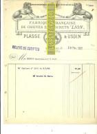 """93 - Seine-st-denis - LE RAINCY - Facture PLASSE & USDIN - Fabrique De Chaînes Et Crochets """"LION"""" – 1922 - REF 172 - Documentos Antiguos"""