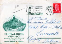 CARTOLINA POSTALE PUBBLICITARIA-CENTRAL-HOTEL -BERLIN NW 7--11-7-1931-SPEDITA A LEVANTO (SPEZIA) - Germany