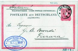 CARTOLINA POSTALE TEDESCA ANTICA-11-8-1883-JSERLOHN SPEDITA A FERRARA (ITALIA) - Deutschland
