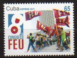 TIMBRE CUBA 2013 CONGRESS FEU FLAGS - Sellos