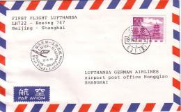 CHINE - BEIJING - 1er VOL LUFTHANSA BOEING 747  BEIJING-SHANGHAI. - Poste Aérienne