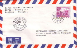 CHINE - BEIJING - 1er VOL LUFTHANSA BOEING 747  BEIJING-SHANGHAI. - 1949 - ... People's Republic
