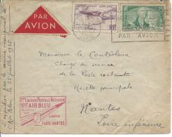 """N°303 + PA 7 Oblit Méc """" Paris Rp Avion """" Sur Lettre Avec Cachet Rect Rouge Fr La 1ere Liaison Air Bleu Paris - Nantes - Air Post"""