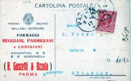 CARTOLINA POSTALE PUBBLICITARIA-PARMA-1-5-1914-DITTA GUSCETTI &OZZOLA-FORMAGGI -SPEDITA A BUCAREST -ROMANIA - Poststempel