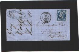 Pli - GC 1712 - Gray (Haute-Saône) LAC D'octobre 1863 Voillard Négociant - Marcophilie (Lettres)