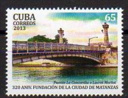 TIMBRE CUBA 2013 FUNDACION CIUDAD DE MATANZAS PUENTE -  VILLE DE MATANZAS FOUNDATION BRIDGE - Vegetales