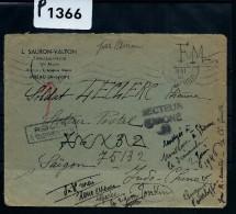 FRANCE LETTRE ADRESSEE A UN SOLDAT A SAIGON PUIS REDIRIGEE PLUSIEURS FOIS A ETUDIER  DEBUT DE LA GUERRE D INDOCHINE 1946 - Marcophilie (Lettres)