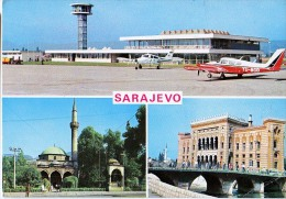 AK FLUGWESEN AERODROME AIRPORT FLUGHAFEN SARAJEVO BOSNIA  ALTE POSTKARTE 1975 - Aerodrome