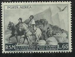 SAN MARINO 1949 GARIBALDI POSTA AEREA  AIR MAIL LIRE 65 MNH - Nuovi