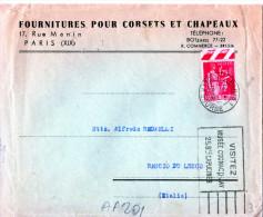BUSTA POSTALE PUBBLICITARIA-FOURNITURES POUR CORSETS ET CHAPEAUX-PARIGI-SPEDITA A RANCIO DI LECCO - Francia