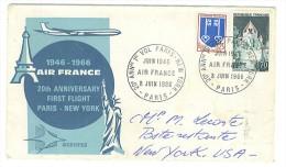 VEND LETTRE 20ème ANNIVERSAIRE 1er VOL PARIS - NEW YORK , AIR FRANCE , 8 / 6 / 1966 !!!! - Airmail