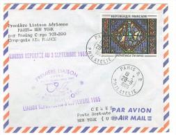 VEND LETTRE 1er VOL PARIS - NEW YORK , BOEING CARGO 707-320 AIR FRANCE , 28 / 8 / 1965 !!!! - Airmail
