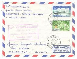 VEND LETTRE 50ème ANNIVERSAIRE 1er VOL ANGLETERRE-FRANCE-AUSTRAL IE , 3 / 12 / 1969 !!!! (a) - Airmail
