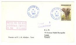 VEND LETTRE 1er VOL KLM ABIDJAN-TUNIS , 2 / 11 / 1963 !!!! - Côte D'Ivoire (1960-...)